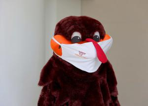 Hokie Bird wearing a mask.