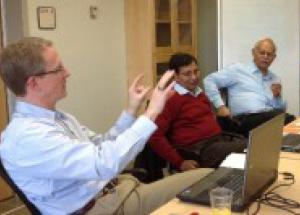 Mike Garvin talks with Professor Mukesh Sharma and Professor Sudhir Misra from the IITin Kanpur